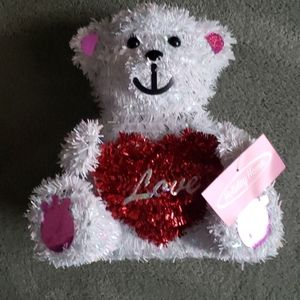 NWT Valentine's Day tinsel bear